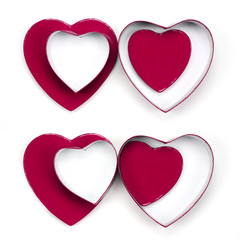 four valentine heart gift boxes