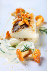 Fish with chanterelle