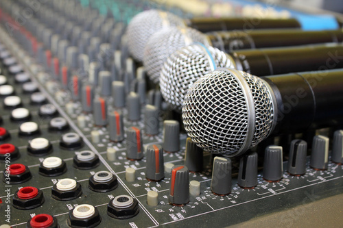 Sound mixing board during a musical performance at a fair