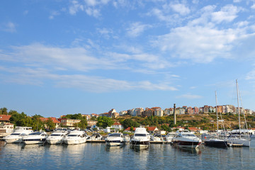 Yacht club in old town Sozopol, Bulgaria