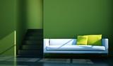 Wohndesign - weißes Sofa vor grüner Wand