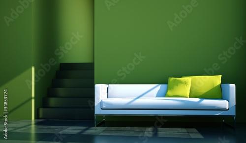 wohndesign wei es sofa vor gr ner wand von virtua73 lizenzfreies foto 34853724 auf. Black Bedroom Furniture Sets. Home Design Ideas