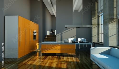 Küchendesign - orangene Küche im Loft