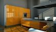 Küchendesign - orangene Küche im Loft 2