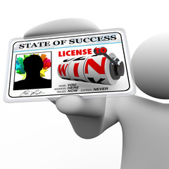 Man Holding License to Win as Identification Card for Access