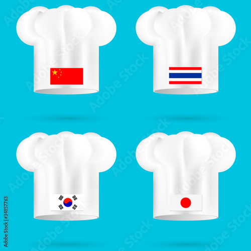 set of  china thailand korea and japan chef's hat on the white