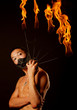 canvas print picture asian man with fire show