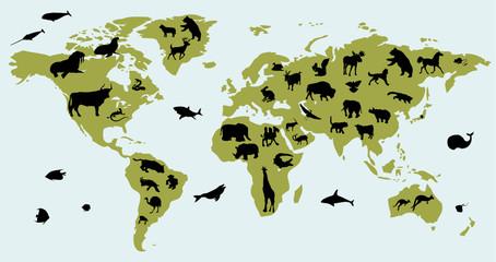 Карта мира с изображением животных