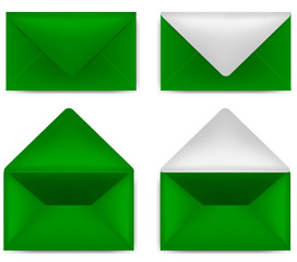 set of green envelope isolated on white background