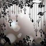 Black and white vintage background with keys