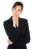 Young anxious businesswoman in suit biting her lip poster