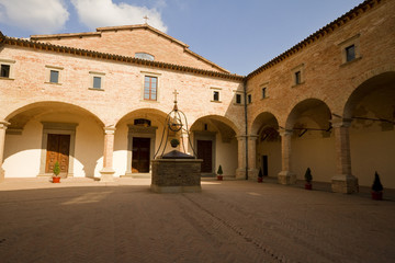 Inside the Cloister of a Tuscan Abbey, Italy
