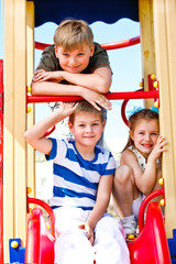 Boys and girl on the playground