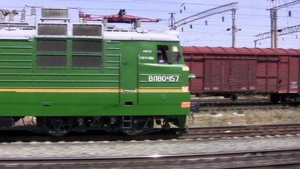 The train goes on railway