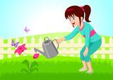 Cartoon illustration of little girl watering the flower