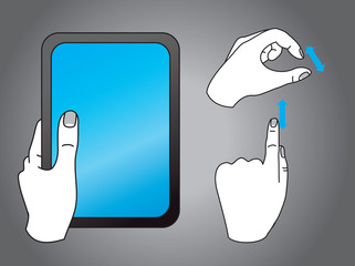 vector hand icons - touchscreen interface illustration