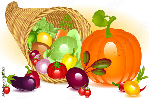 Cornucopia with pumpkin. Collection of vegetables