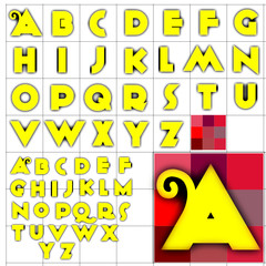 ABC Alphabet background anagram yellow design