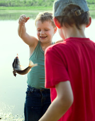 The young fisherman. First fish.