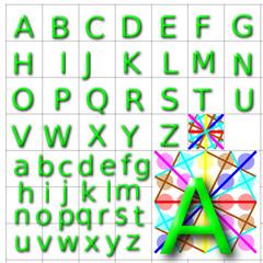 ABC Alphabet background halida green design