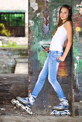 Girl with roller shoes