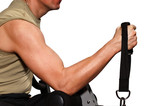 The man on a training apparatus trains hand muscles poster