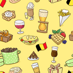 Hand drawn seamless pattern: belgian traditional food and beer