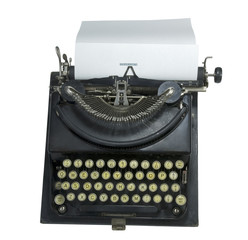 vintage manual portable typewriter, isolated