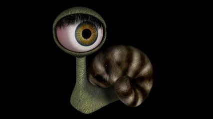Funny Fantasy Character Blinking Eye. Looping. Alpha Matte