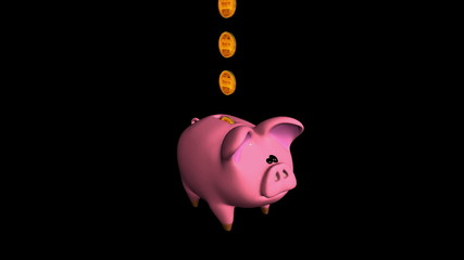 Cute Piggy Bank. Isolated on black. Alpha matte. Loopable