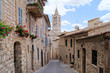 Narrow medieval street in the hill town of Assisi