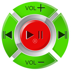vector illustration of red and white remote control buttons