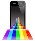touch pad phone with abstract rainbow