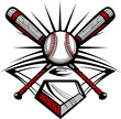 Baseball or Softball Crossed Bats with Ball Image Template - 34882518