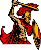 Trojan Mascot Body with Sword and Shield poster