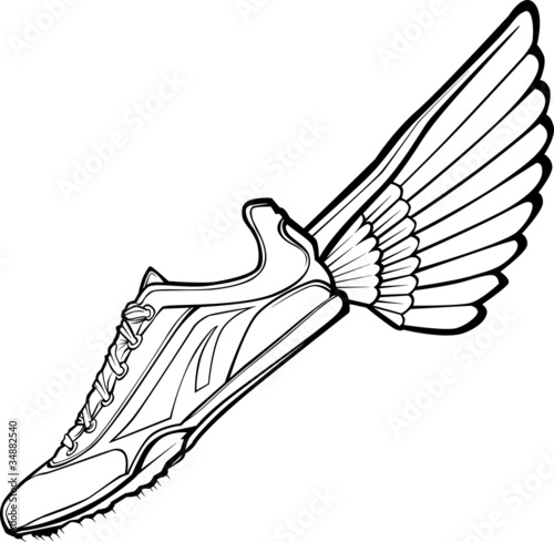 Track Shoe with Wing Illustration - 34882540