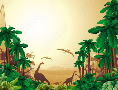 Deurstickers Zoo Dinosauri Sfondo Giurassico-Dinosaurs Jurassic Landscape