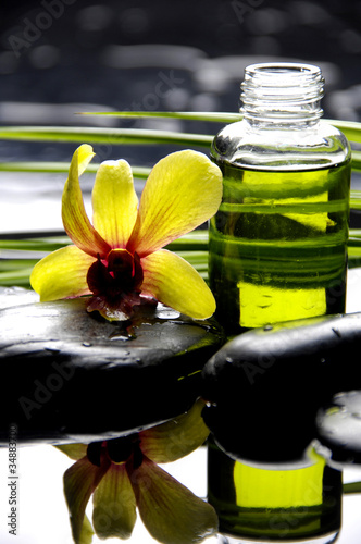 Poster Spa bottle of essential oil with orchid on pebble reflection