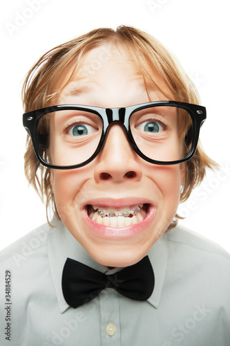 Young boy with tooth braces