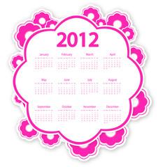 pink flower calendar for 2012
