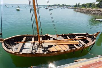 Ancient nautical sailing boat at the Historic Plymouth Harbor.