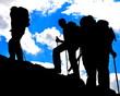 alpinisme..silhouettes en haute montagne