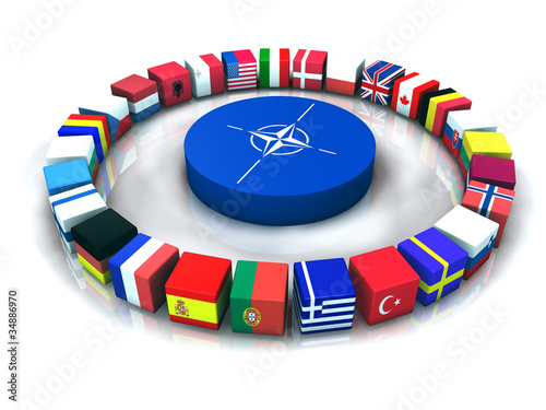 NATO Alliance-North Atlantic Treaty Organization 3D illustration