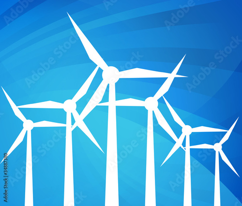 Wind alternative energy generator blue vector