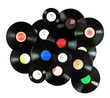 Abstract music background made of vintage vinyl records