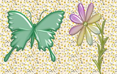 farfalla e fiore di vetro