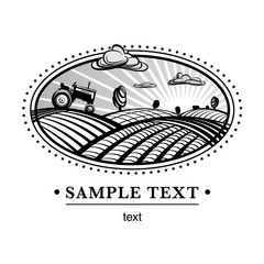 Agriculture landscape, engraving style illustration