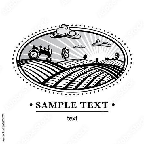 Agriculture landscape, engraving style illustration