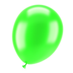 one green party balloon isolated on white background