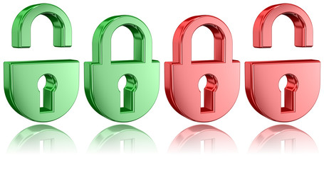 Tridimensional Padlock Icons With Partial Reflections